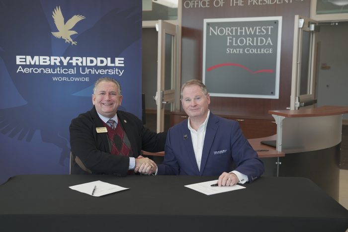 Embry-Riddle Aeronautical University Associate Director – U.S. Campus Operations Mr. Ron Garriga (left) and NWFSC President Dr. Devin Stephenson (right) recently signed a partnership agreement streamlining the transfer process for students.