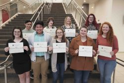 Northwest Florida State College 2020 All-Florida Academic Team members from left to right back row: Noah Bresler, Morgan Chipman, Danielle Muir and Carol Ingam. From left to right front row: Hannah Brown, Matt Nguyen, Julianna Cannon, Shelby Jones and MacKenzie Burgoyne.