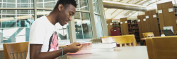 Student Studying in the Susan Myers Learning Resources Center