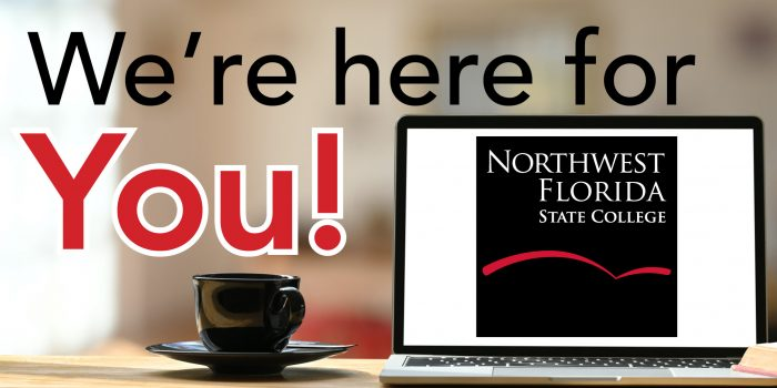 """Laptop with NWFSC Square Logo on Desk with caption """"We're here for you!"""""""