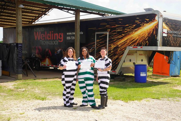 From left to right; Shauna Gilbert, Jessica Williams and Michele Grindstaff represent the first all-female graduates of the inmate welding credential program partnership bewteen Northwest Florida State College and Walton County Sheriff's Office.
