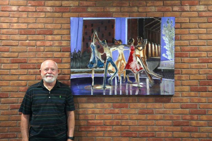 Johnny Pope of Shalimar donated this mixed media artwork to the Mattie Kelly Arts Center in March of 2021.
